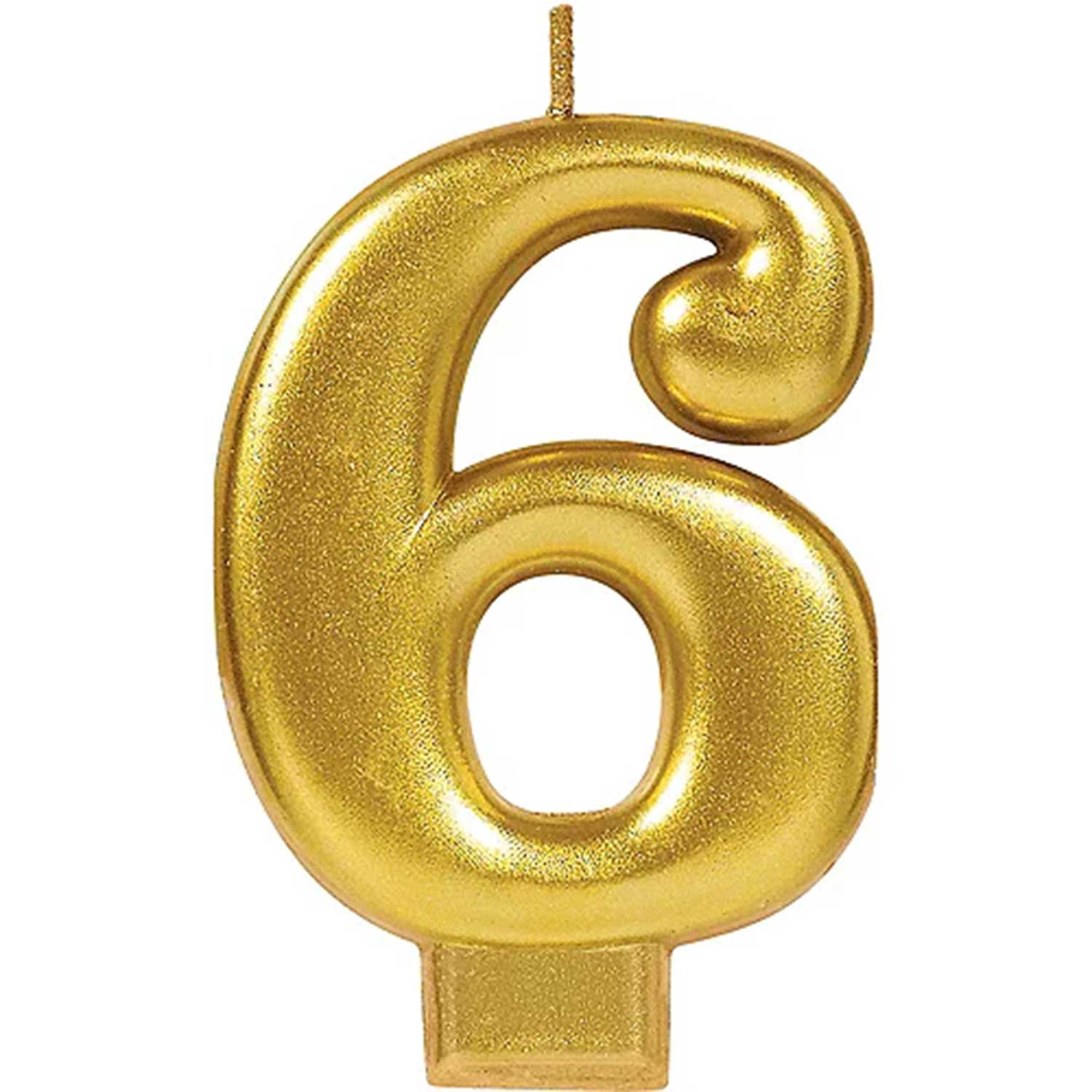 Gold Number 6 Candle