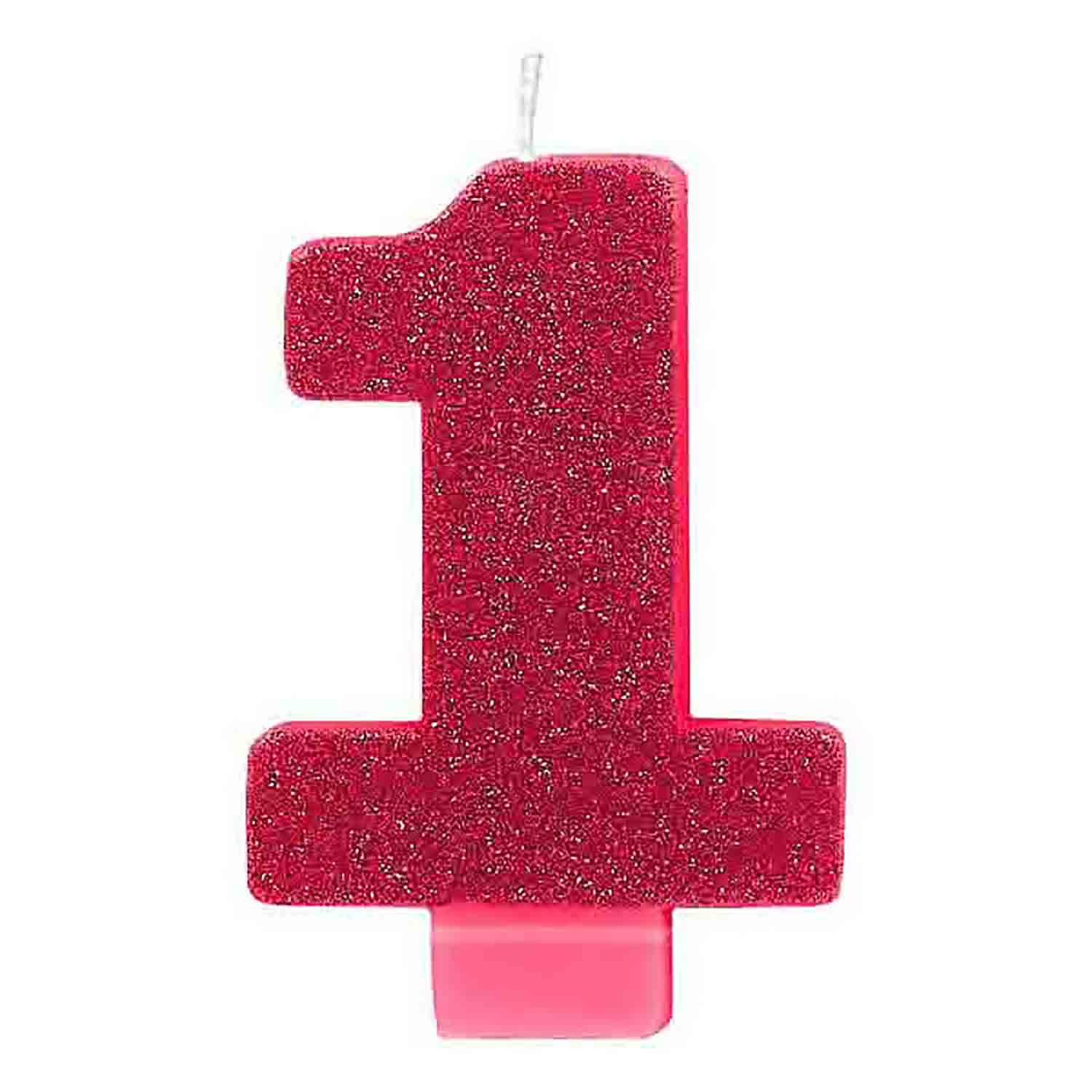 Pink Glitter Number 1 Candle