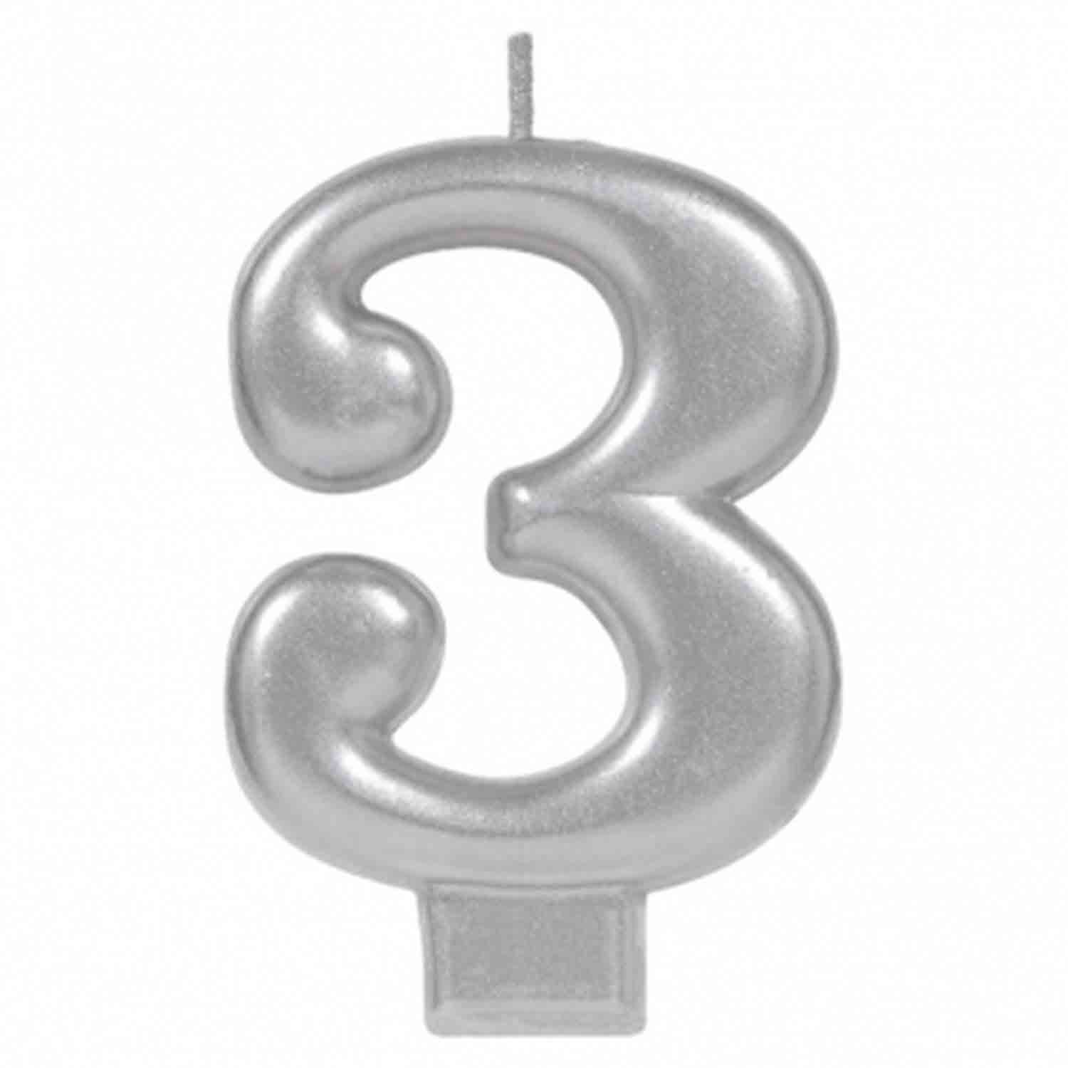 Silver Number 3 Candle