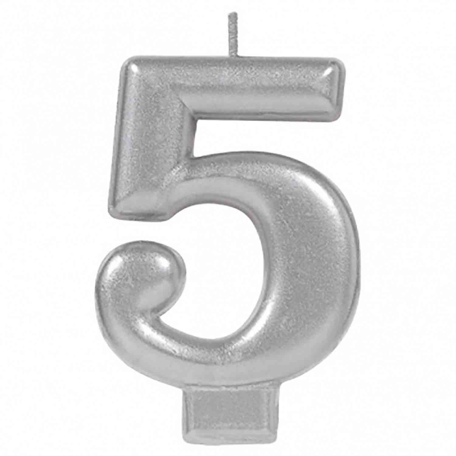 Silver Number 5 Candle