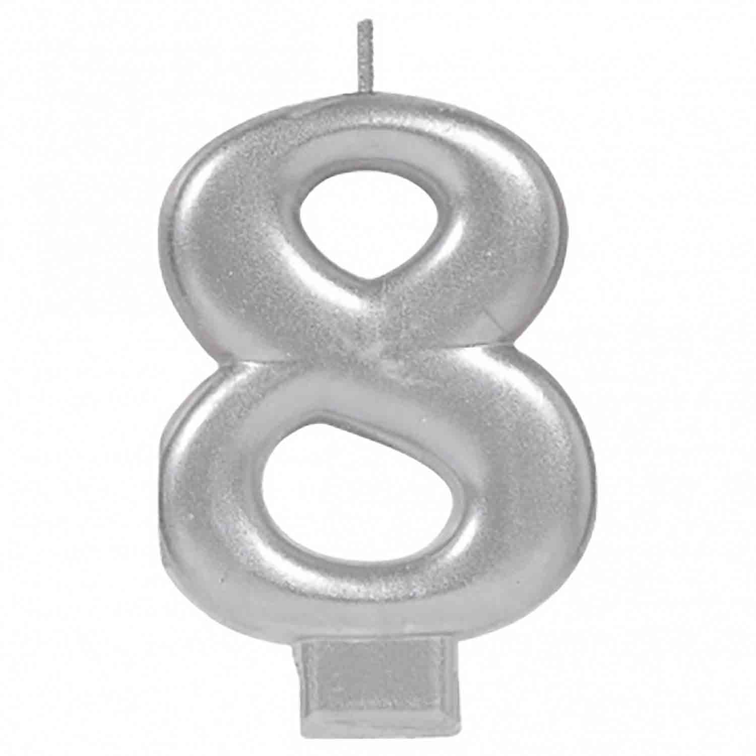 Silver Number 8 Candle