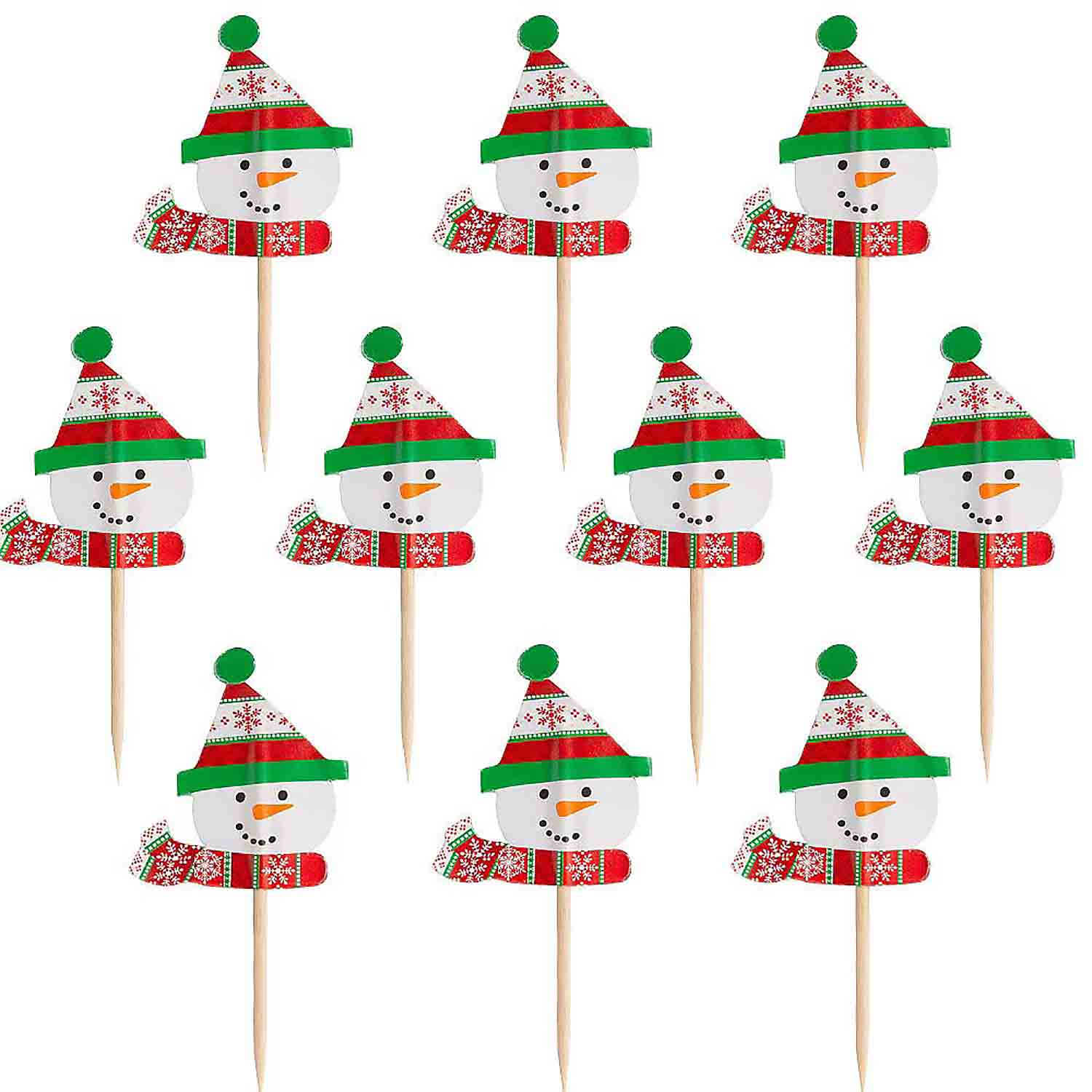 Christmas Snowman Party Picks