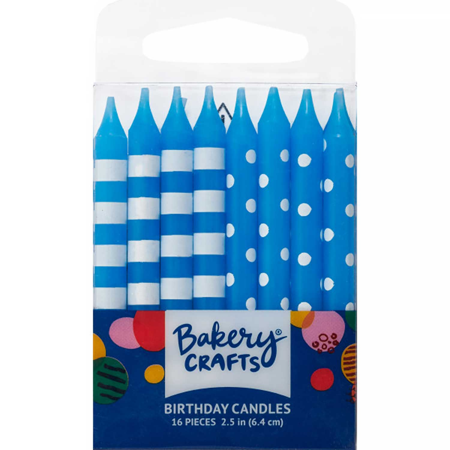 Blue Dots and Stripes Candles