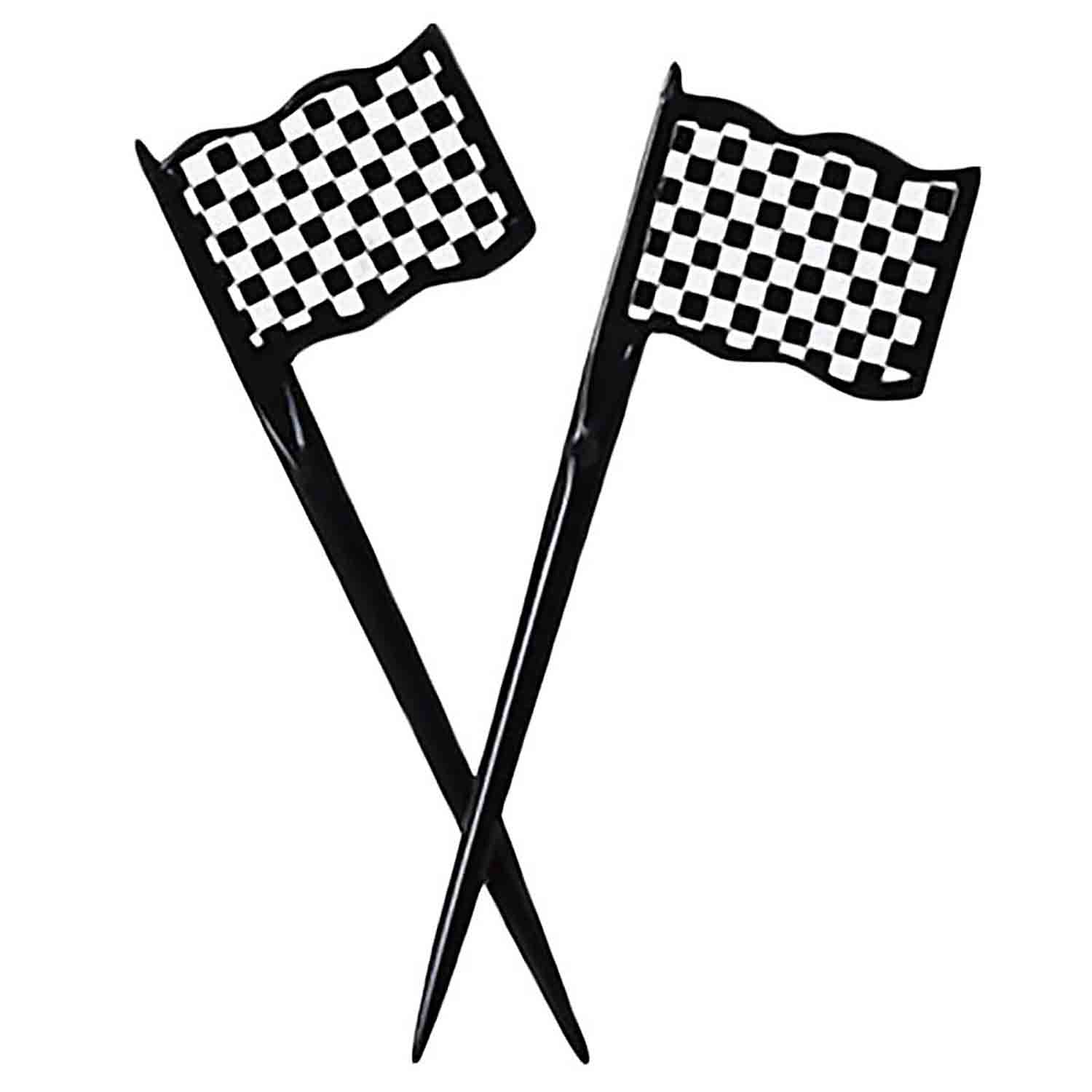Checkered Flag Plastic Party Picks
