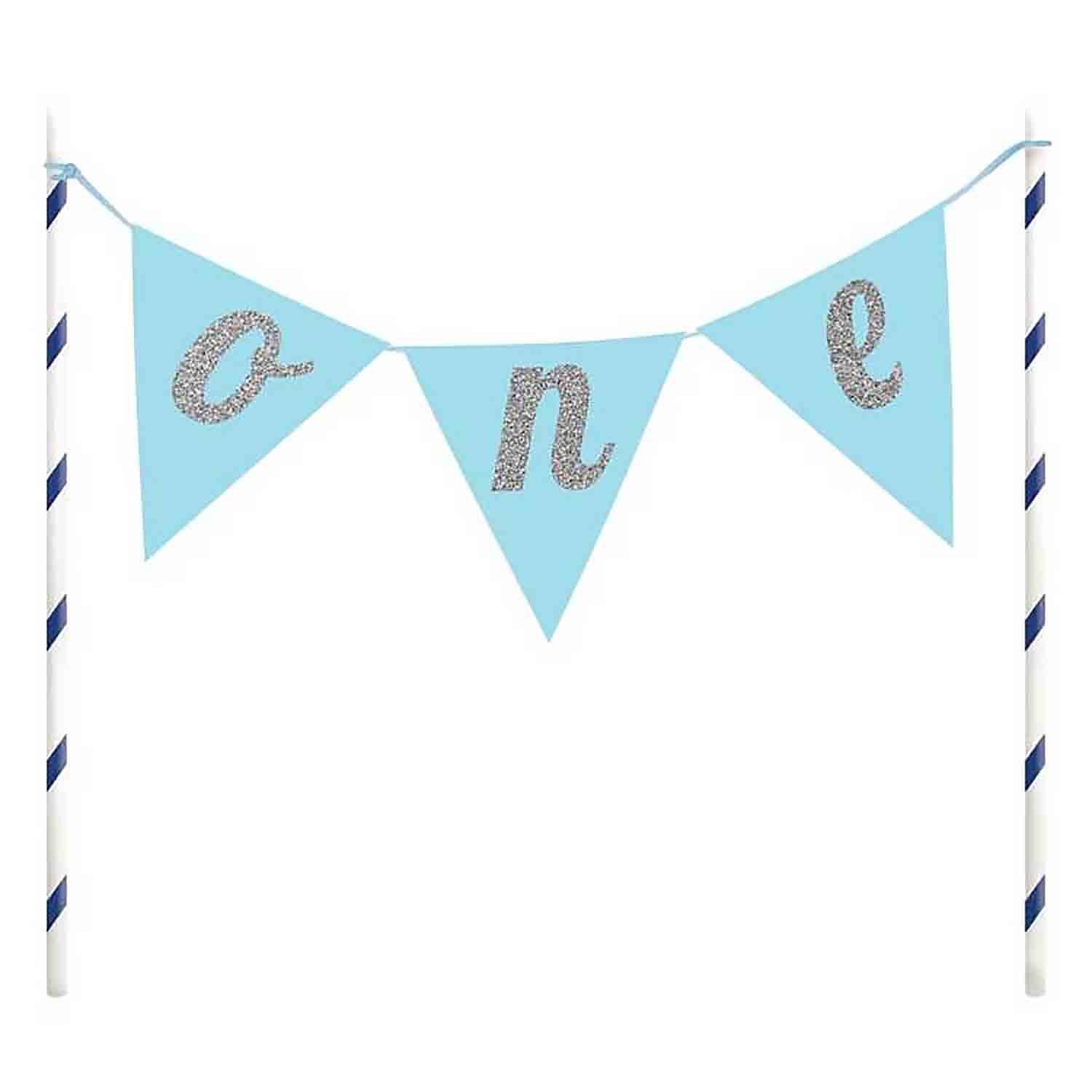 "Blue ""One"" Pennant Cake Topper"