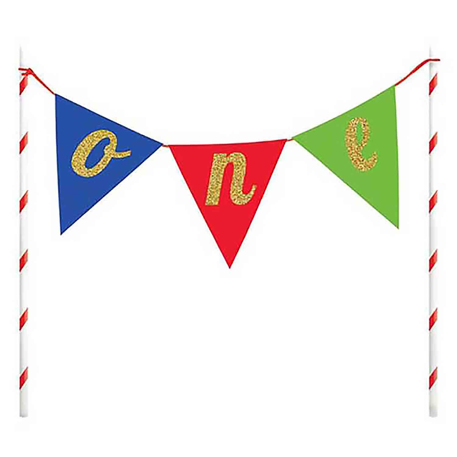 "Multi-Colored ""One"" Pennant Cake Topper"