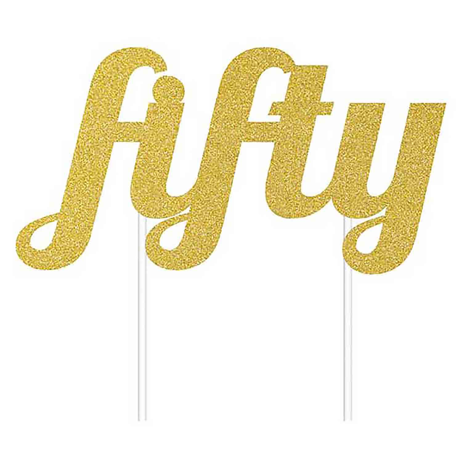 "Gold ""Fifty"" Cake Topper"
