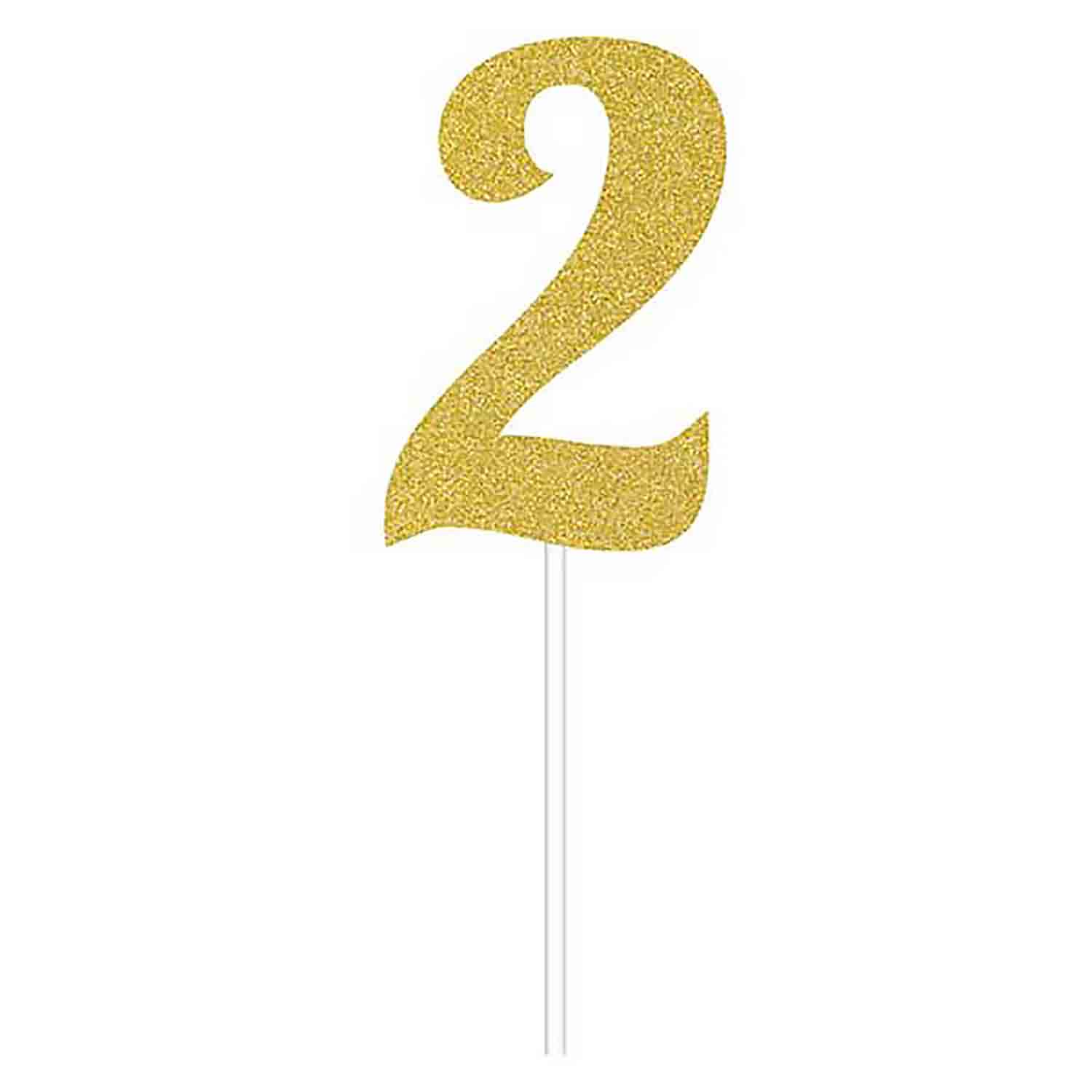 Number 2 Gold Cake Topper