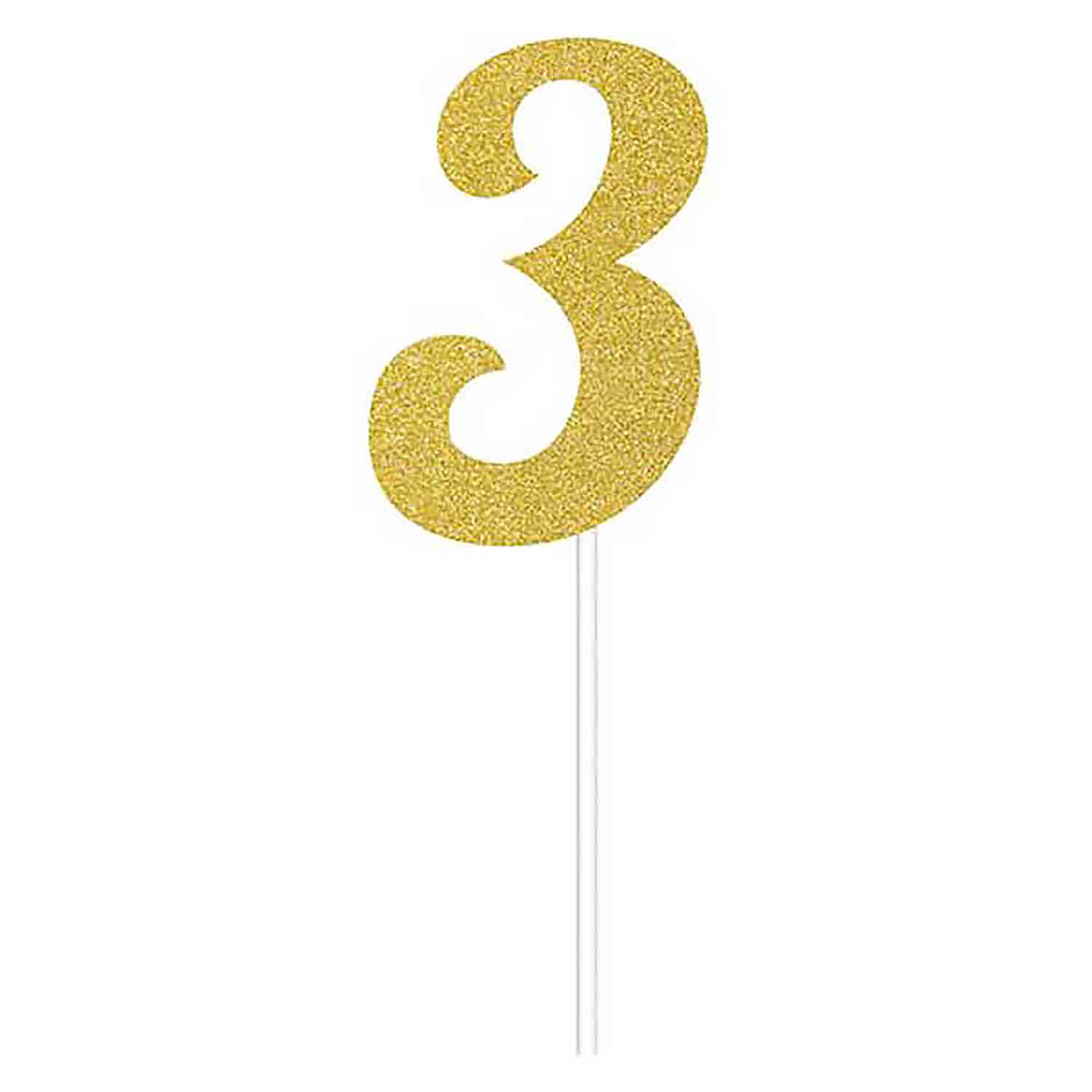 Number 3 Gold Cake Topper