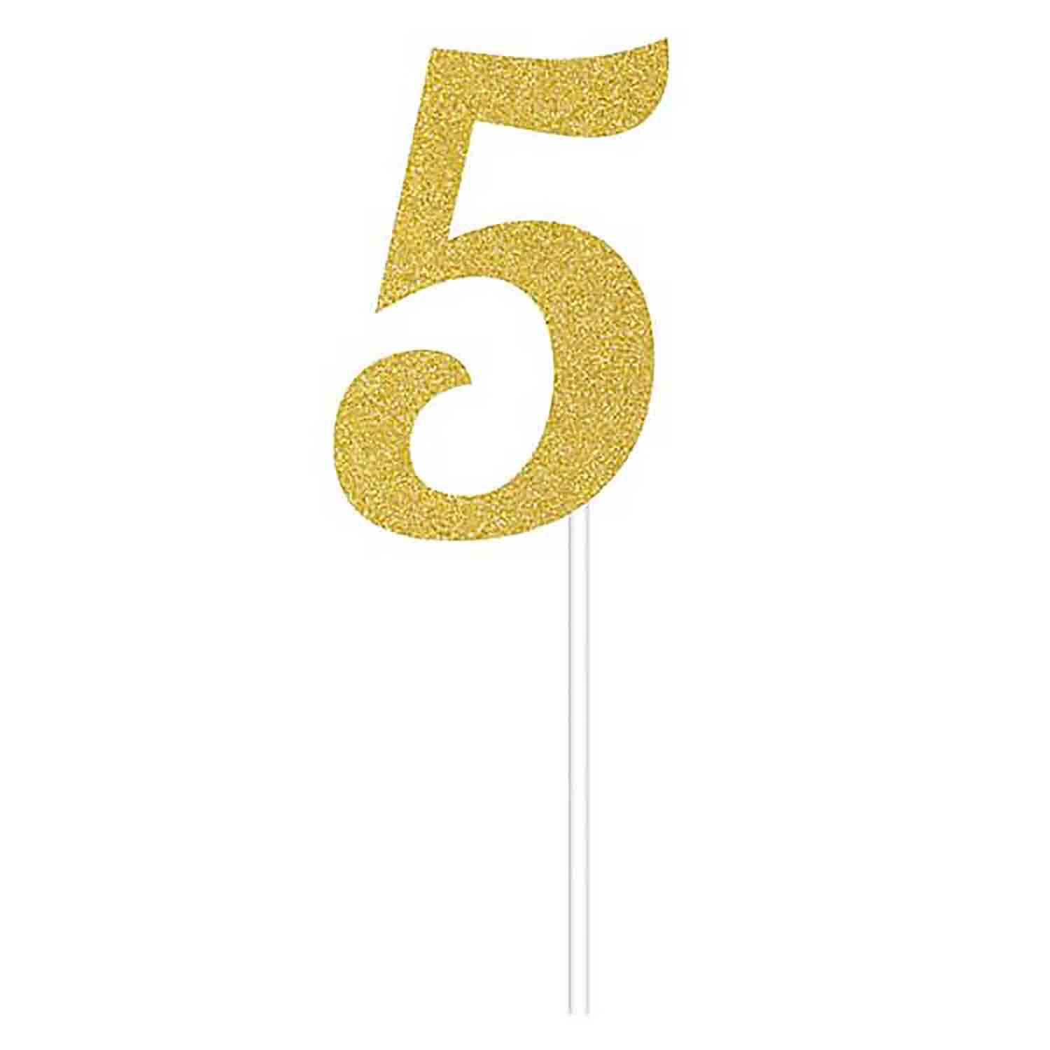Number 5 Gold Cake Topper