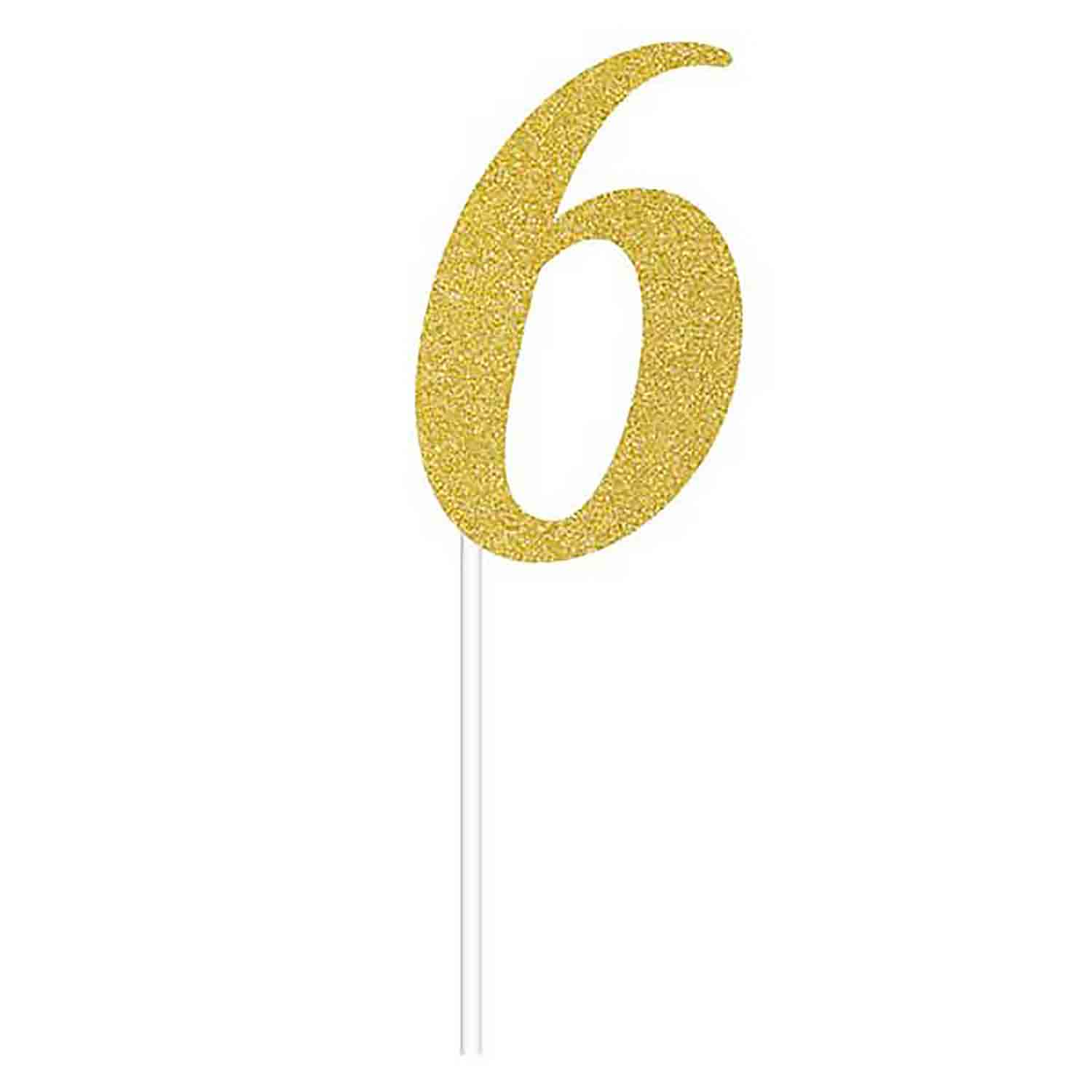 Number 6 Gold Cake Topper