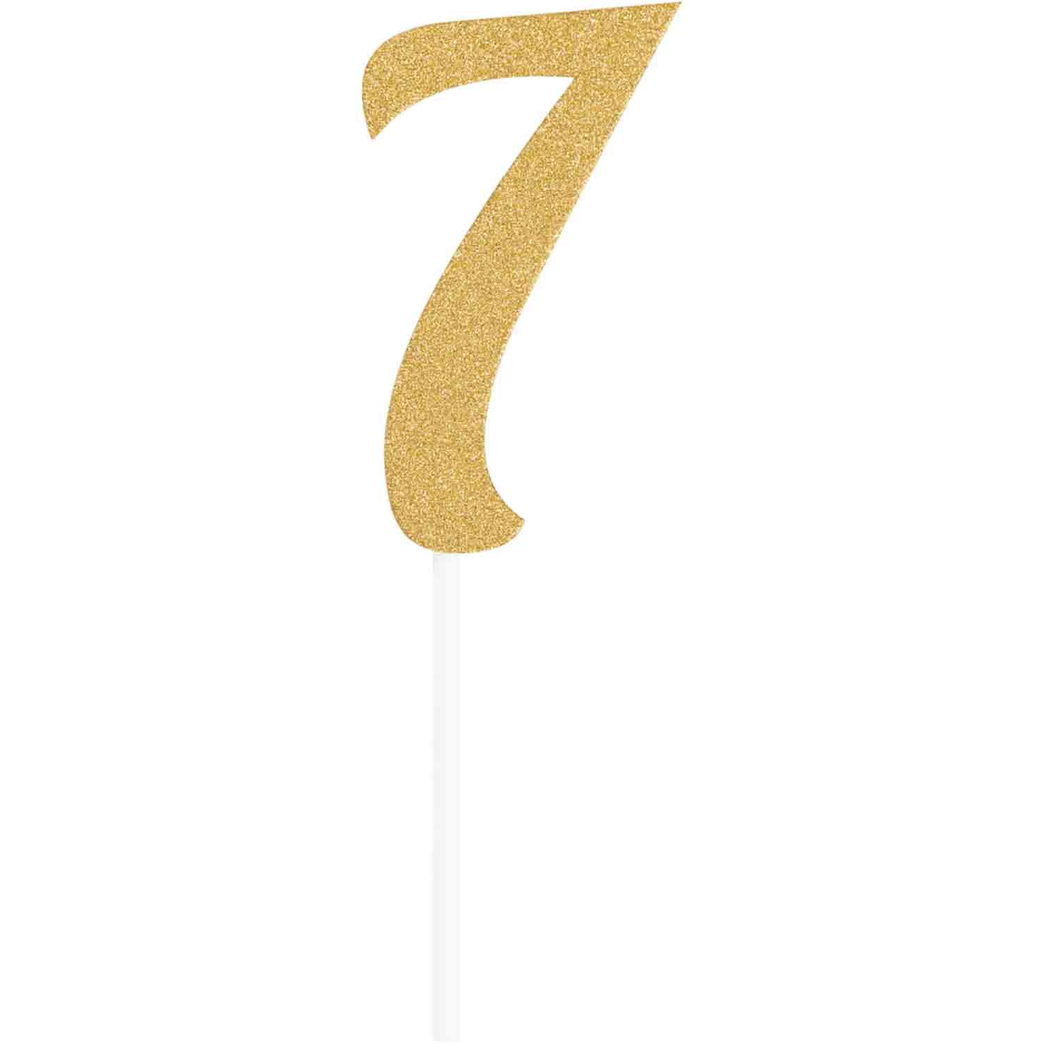 Number 7 Gold Cake Topper