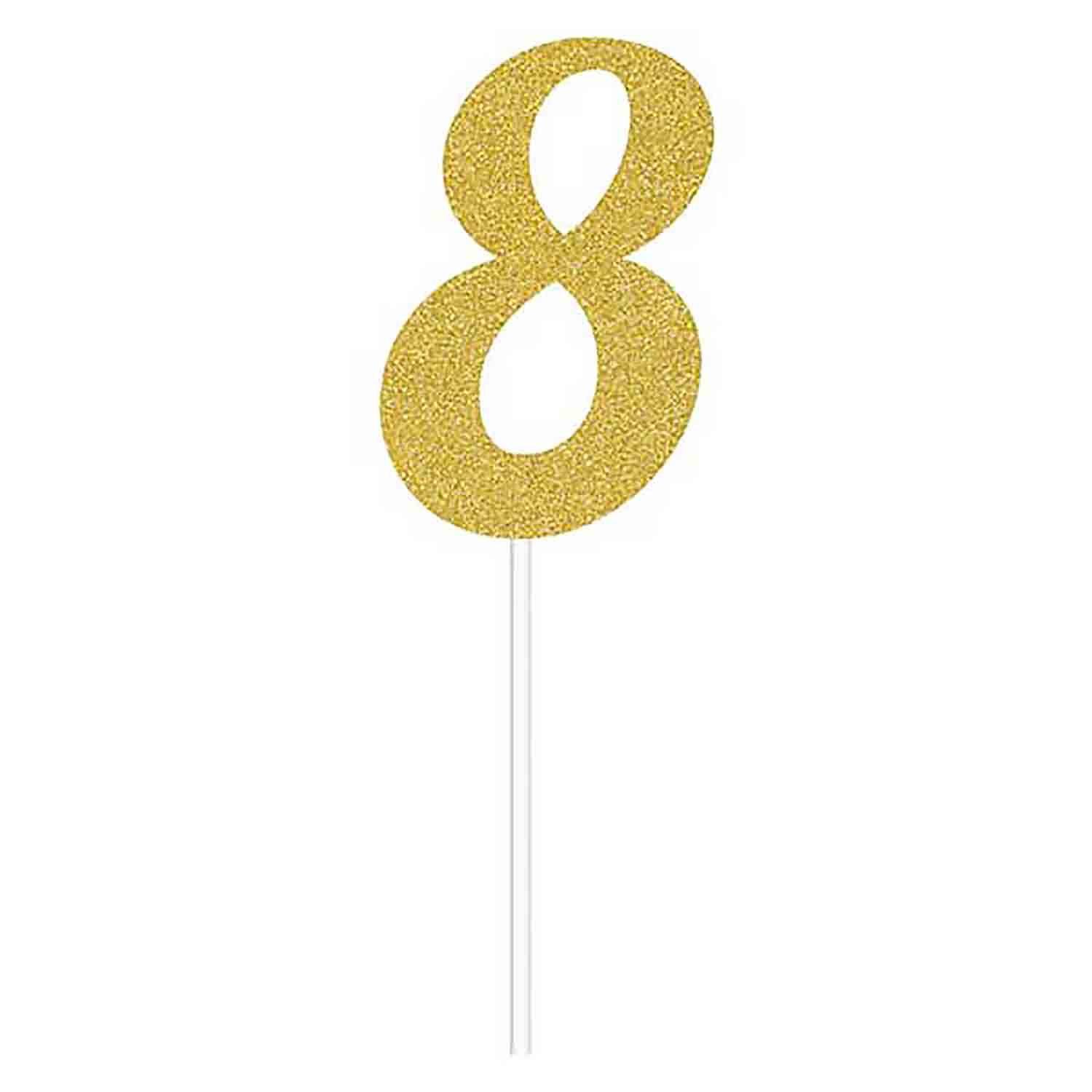 Number 8 Gold Cake Topper