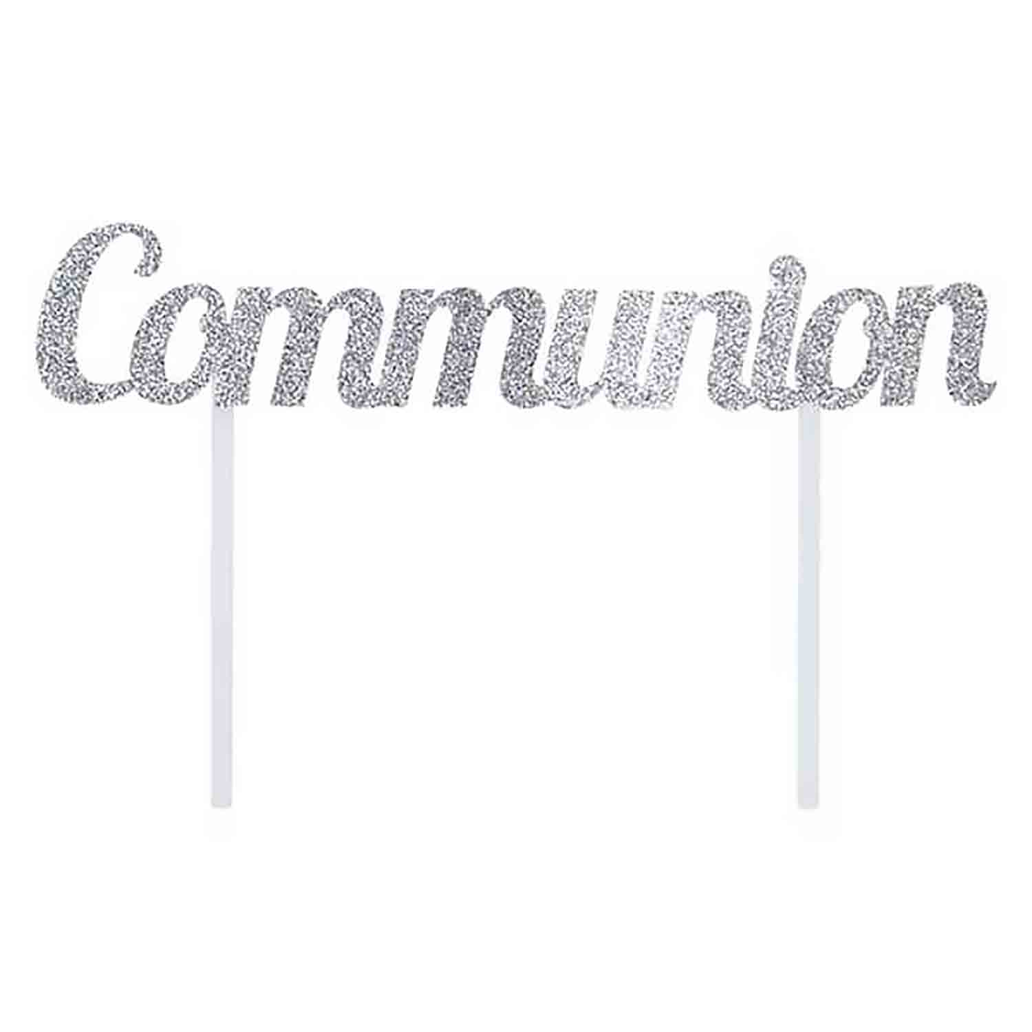 Silver Communion Cake Topper
