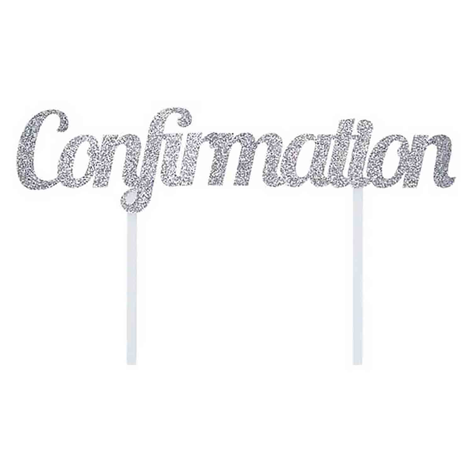 Silver Confirmation Cake Topper