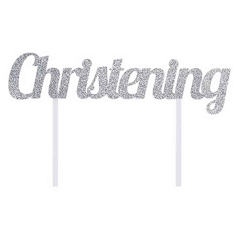 Silver Christening Cake Topper
