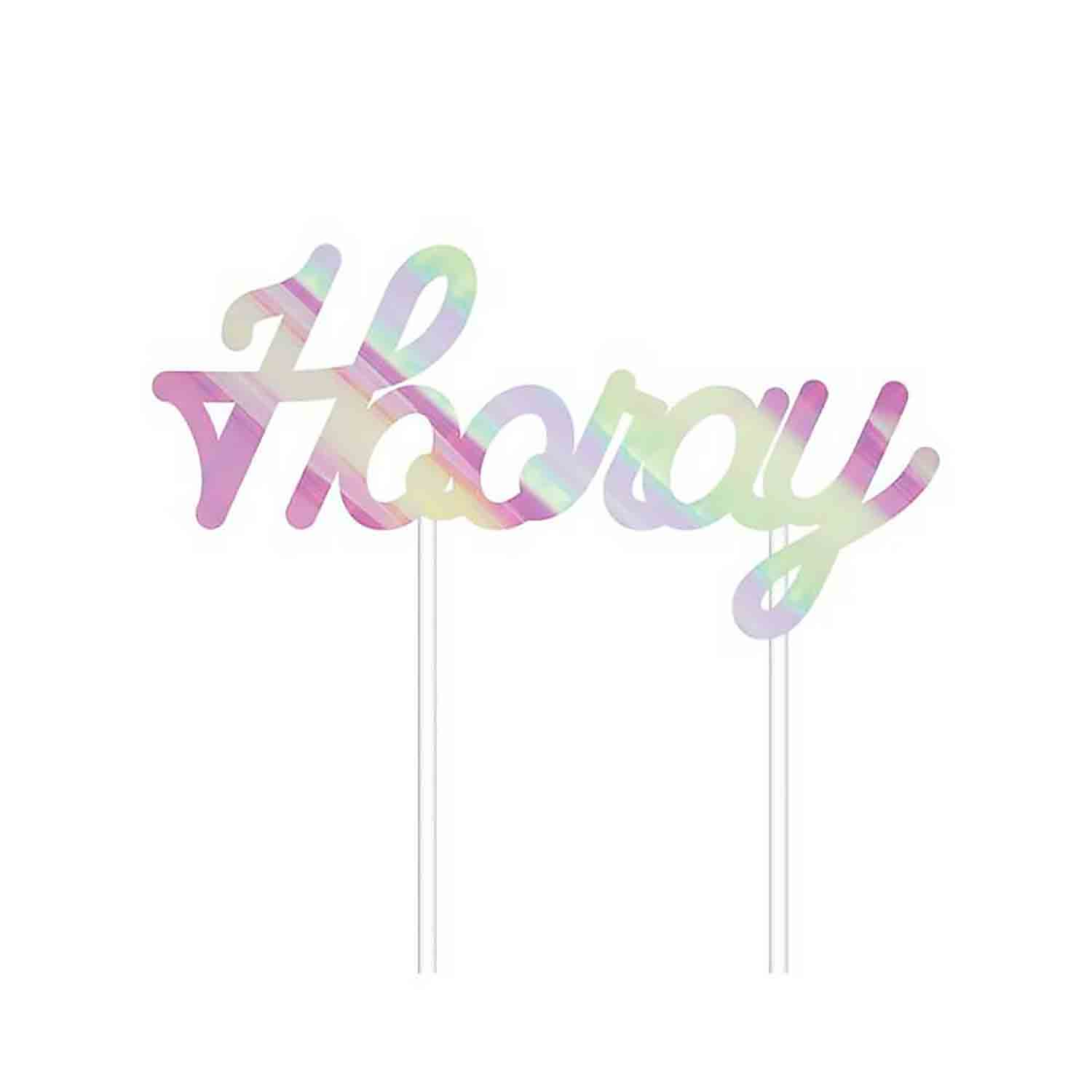 Iridescent Hooray Cake Topper