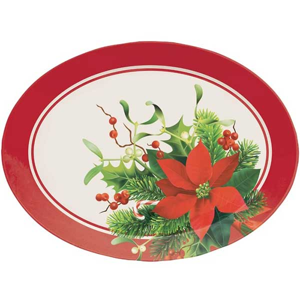 Christmas Poinsettia Platter