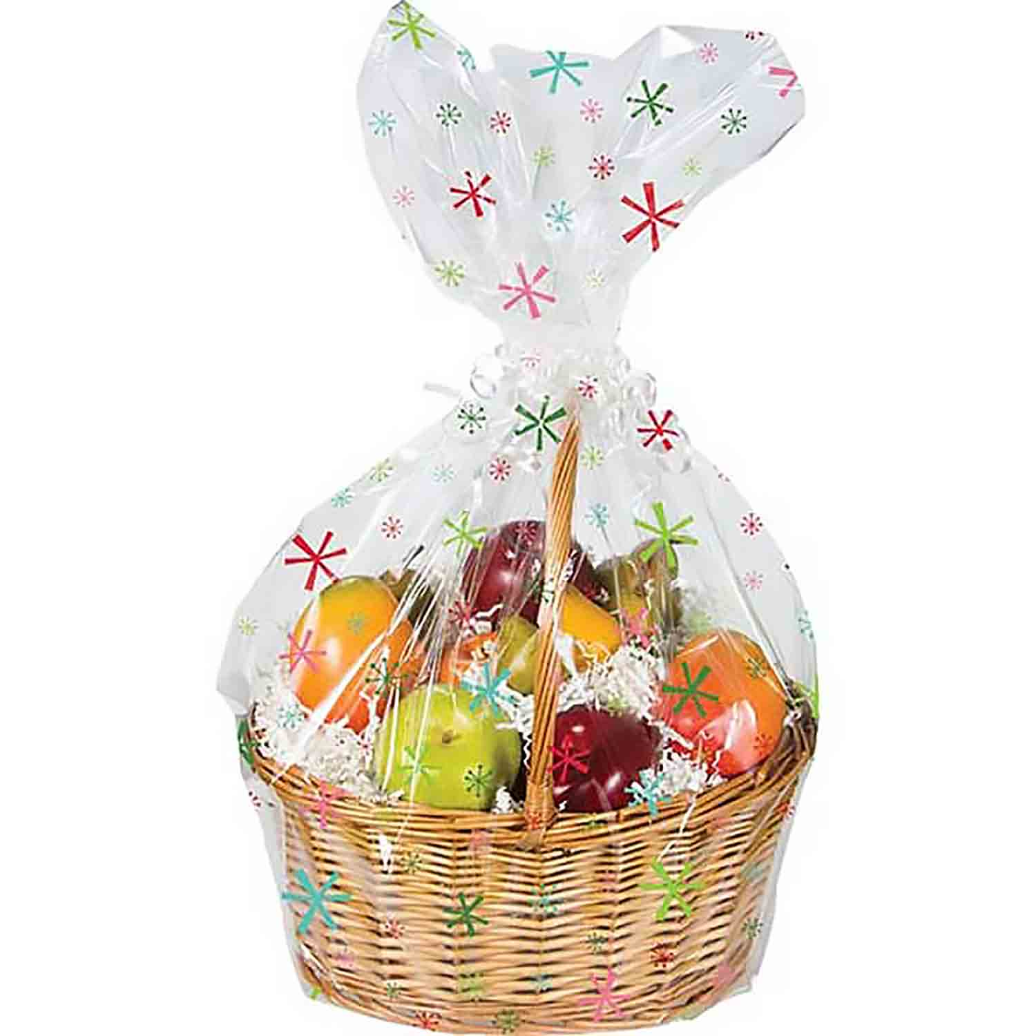 Bright Snowflakes Cello Basket Bag