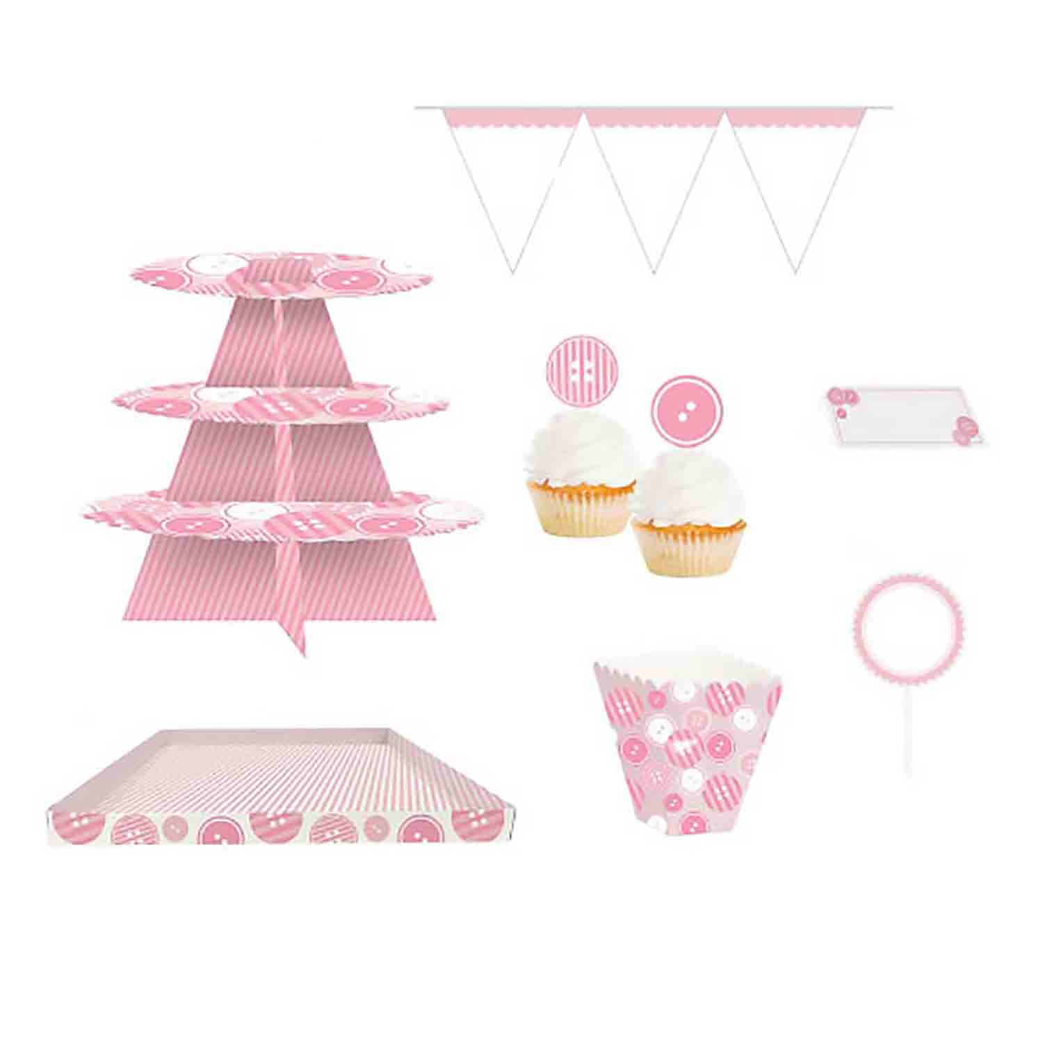 Pink Baby Buttons Treat Table Kit