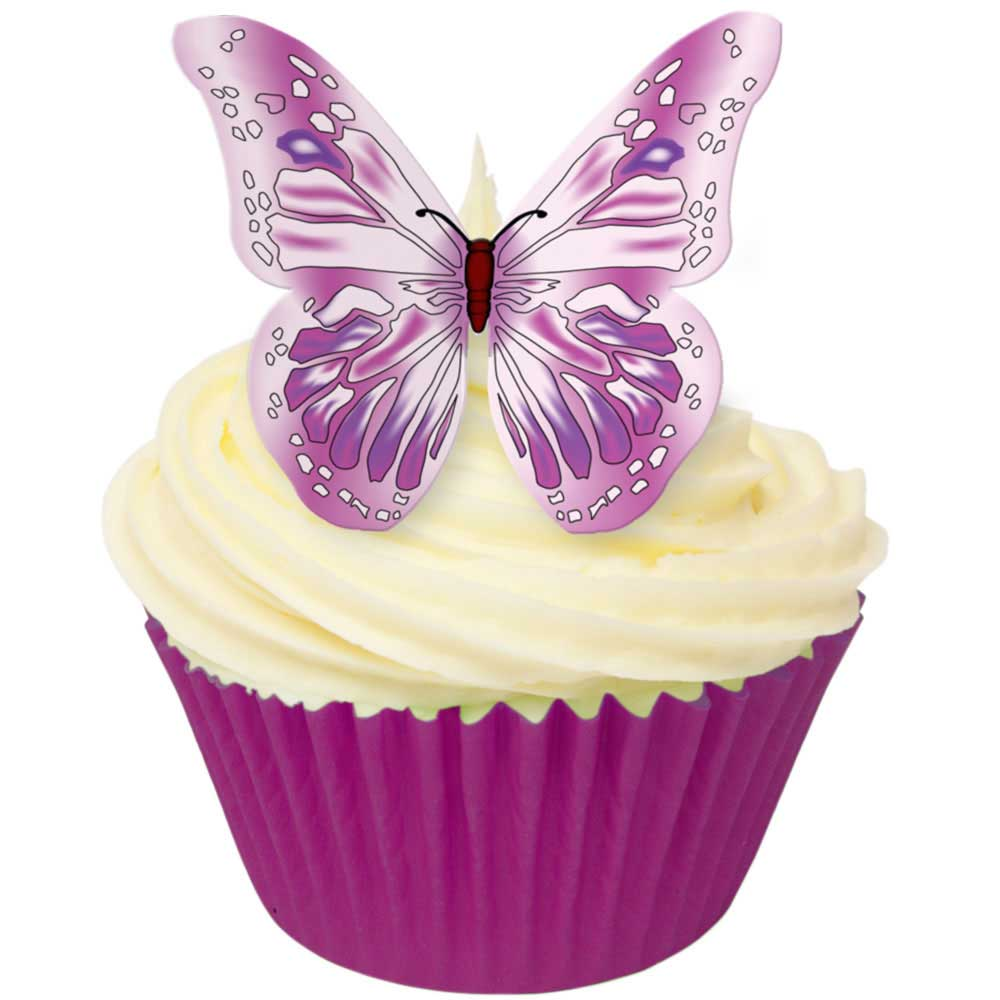 Purple & Pink Edible Wafer Butterflies