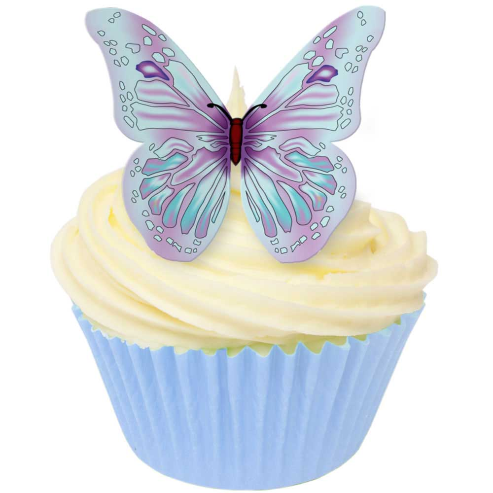 Lilac & Blue Edible Wafer Butterflies
