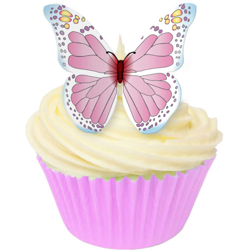 Pink & White Edible Wafer Butterflies