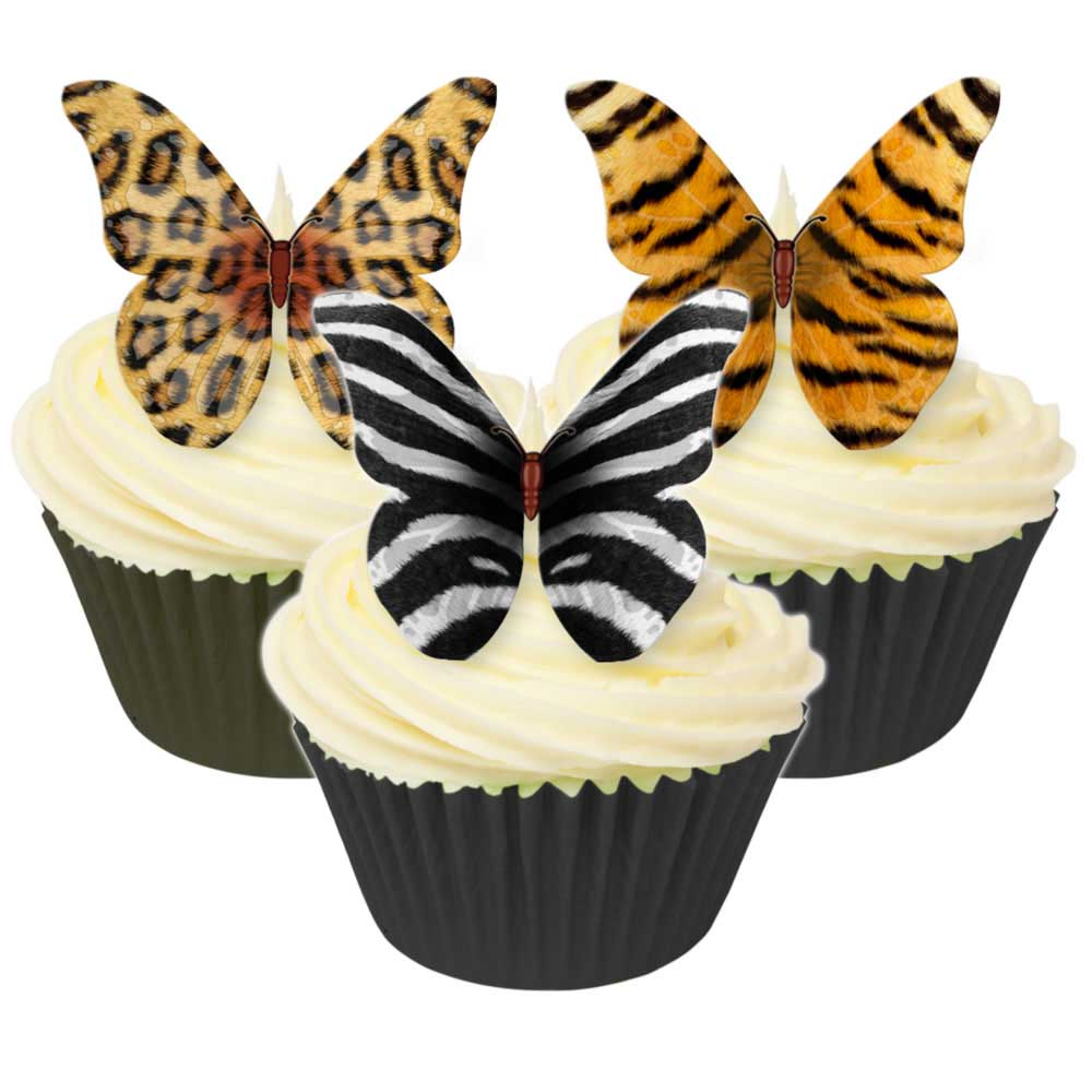 Animal Print Edible Wafer Paper Butterflies