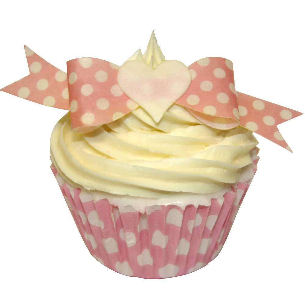 Pink with White Dot Edible Bows