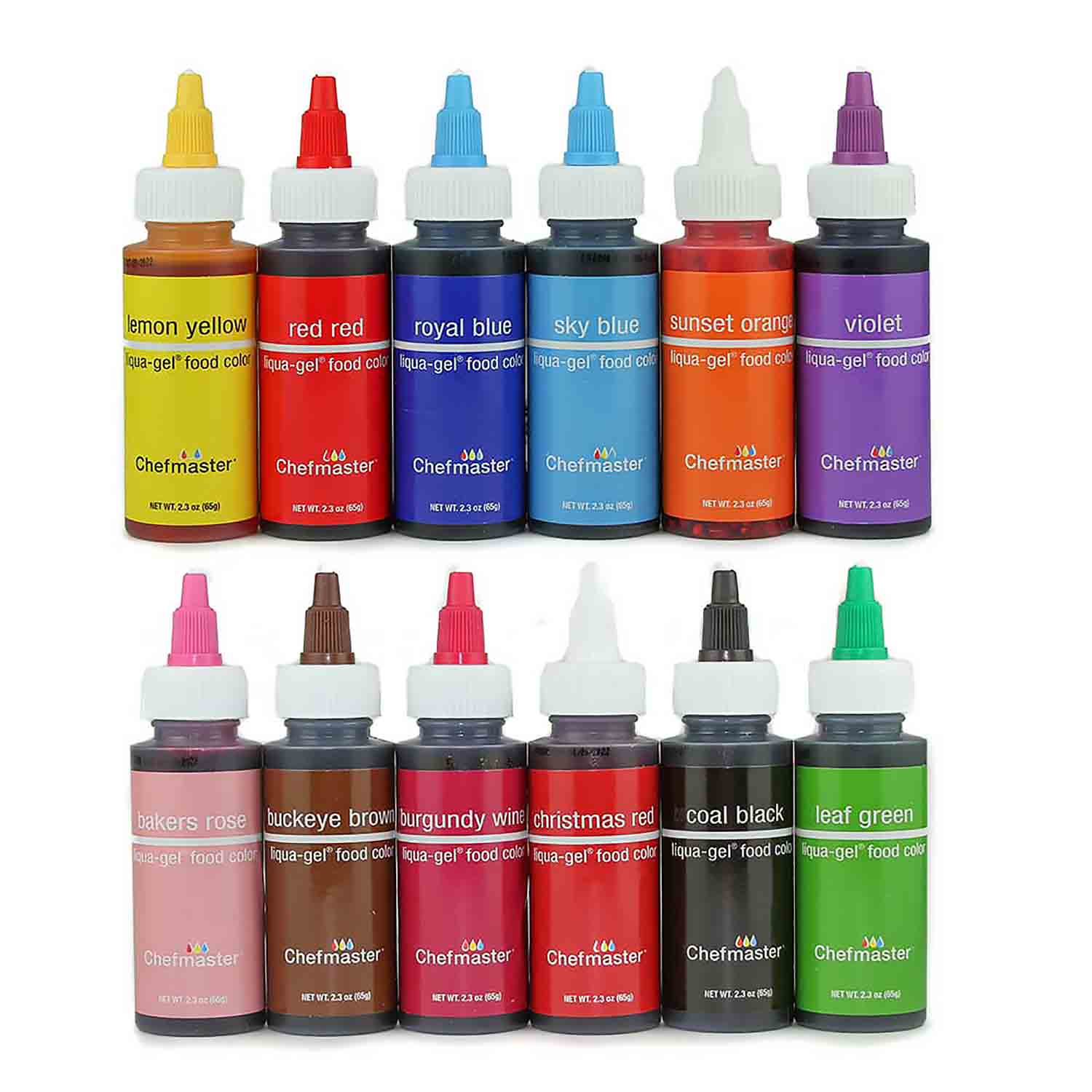 12 Color Chefmaster® Liqua-gel® Food Color Variety Pack