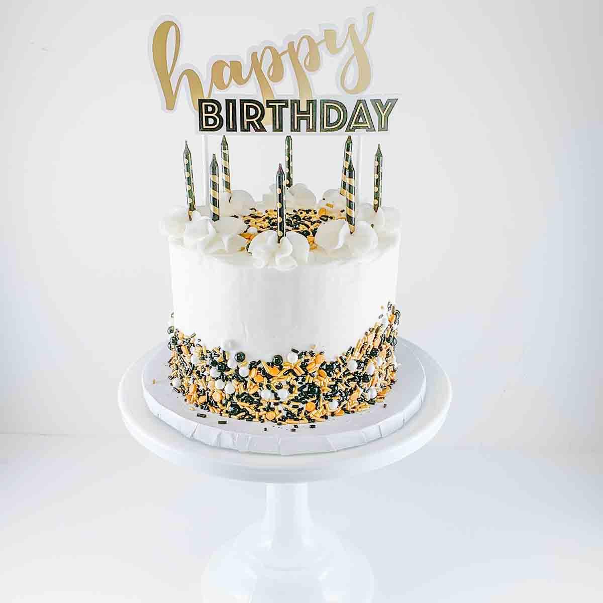 Bake at Home Gold and Black Birthday Cake Kit