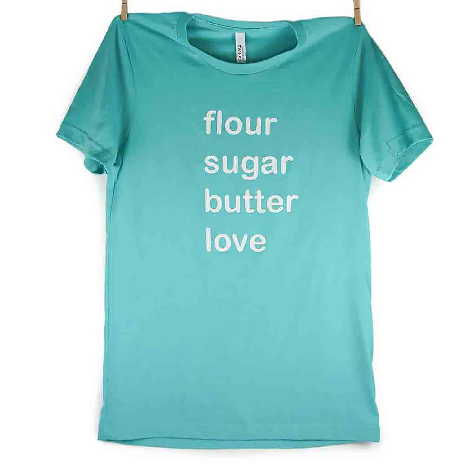 Teal Flour Sugar Butter Love T-Shirt - Medium