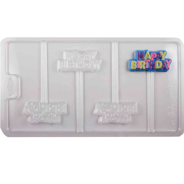 Happy Birthday Sucker Chocolate Candy Mold