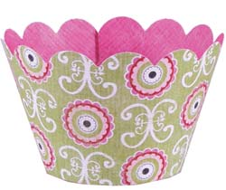 Cupcake Wrapper- Pink and Green Brocade