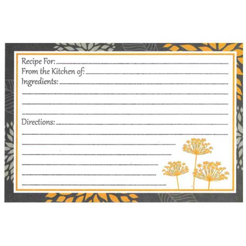Recipe Cards - Yellow and Grey