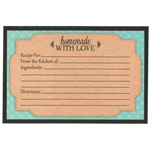 Recipe Cards - Teal and Kraft