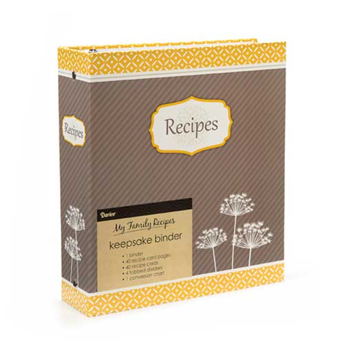 Recipe Binder - Yellow and Grey
