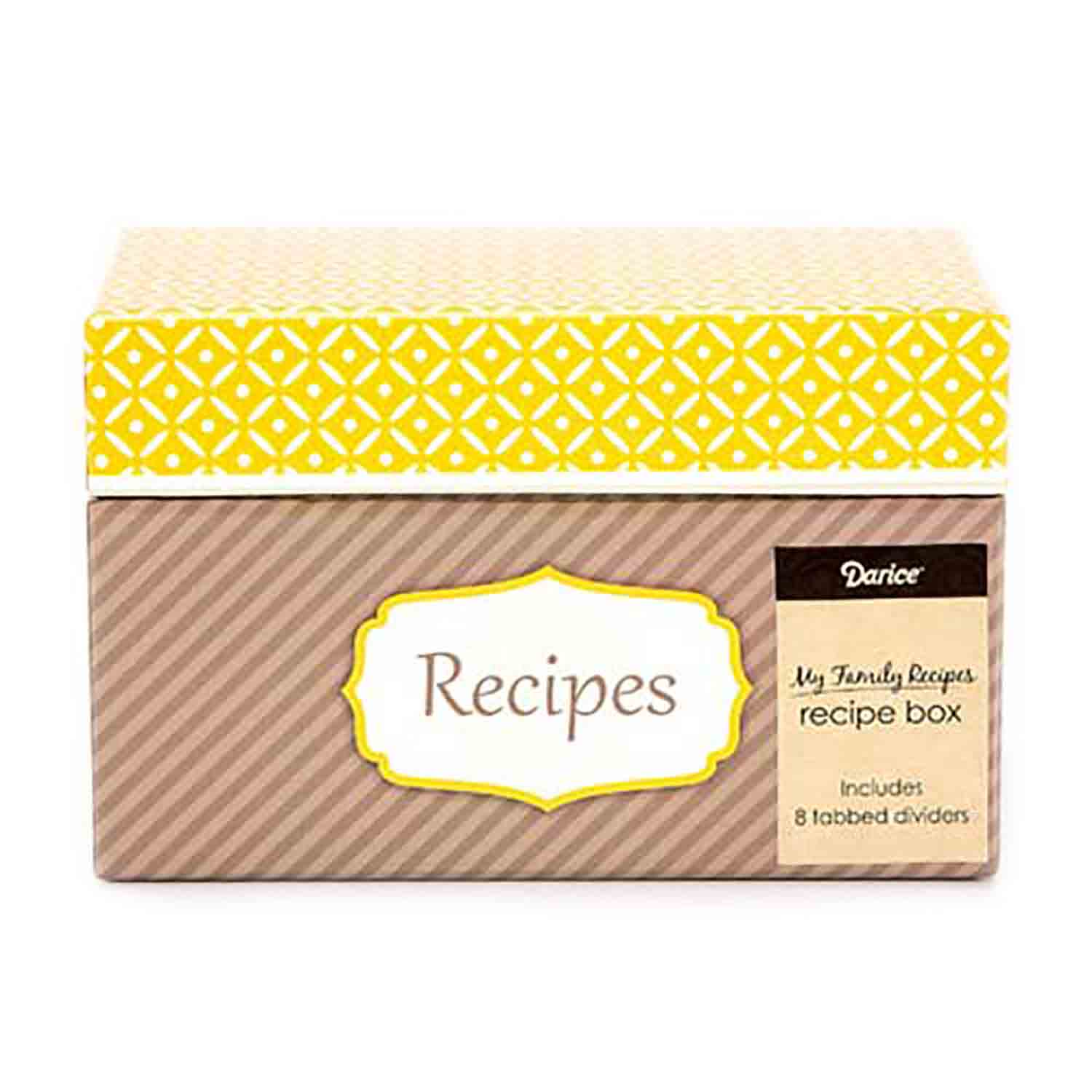 Recipe Box - Yellow and Grey