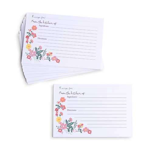 Recipe Cards - Peach Floral