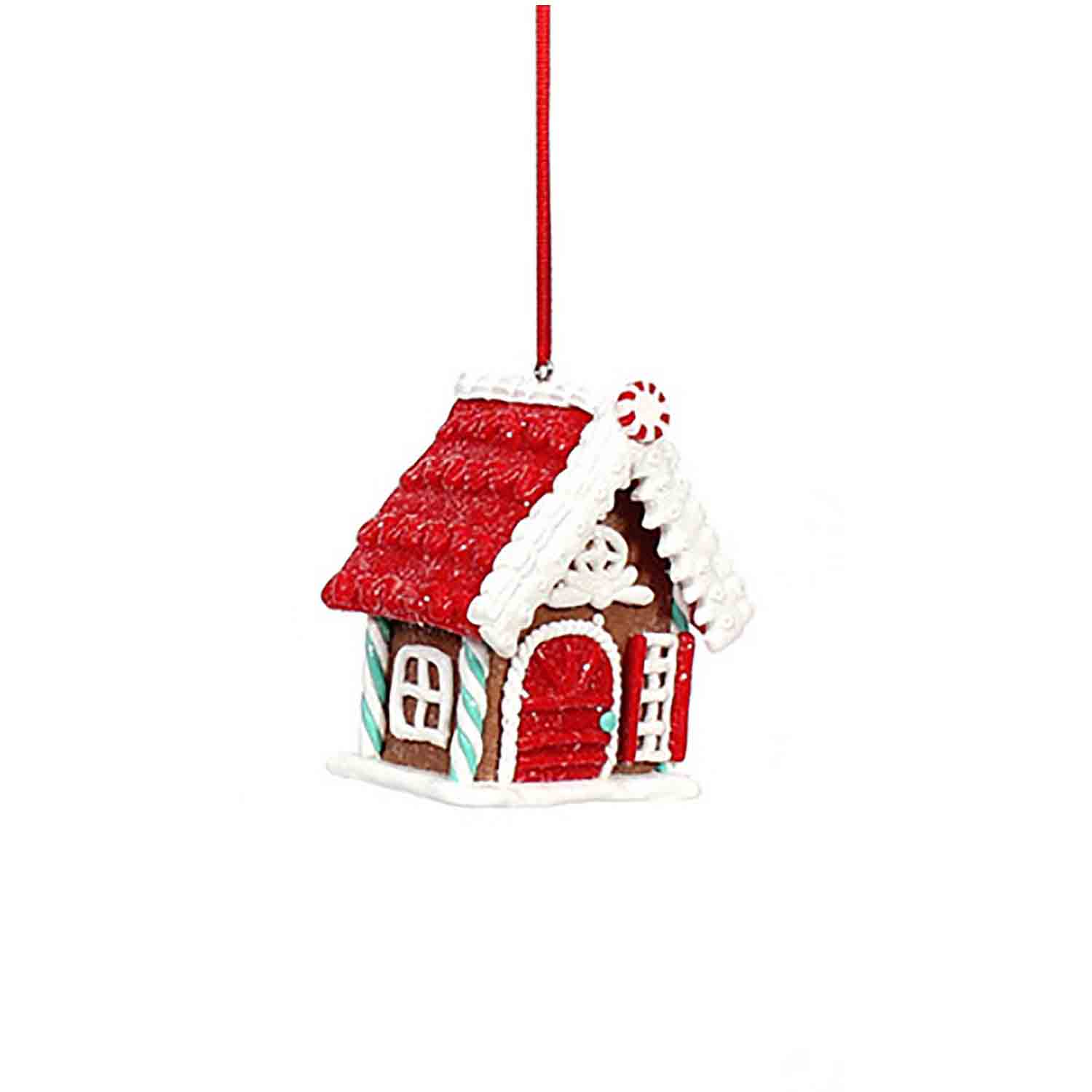 Gingerbread House Ornament Red