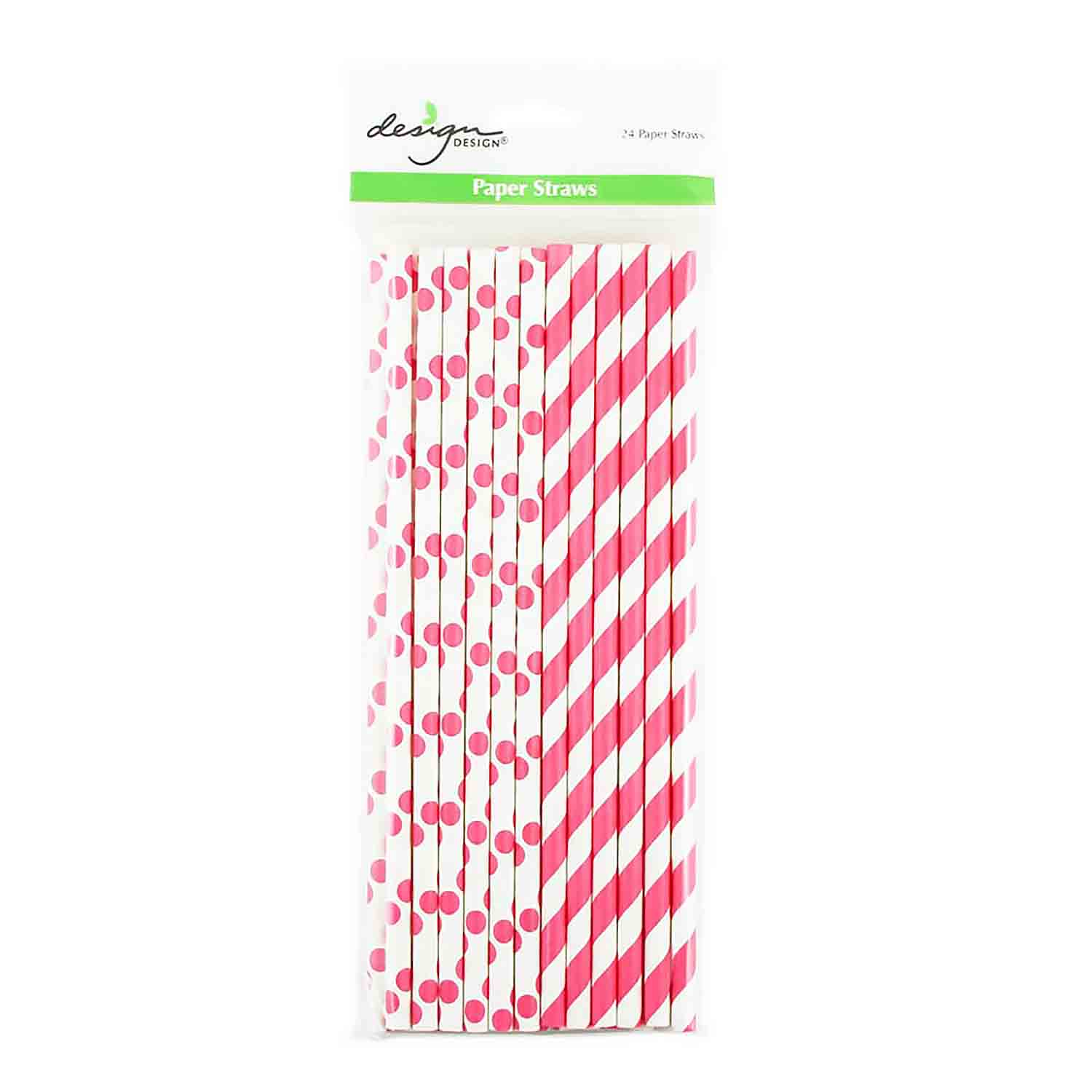 Magenta Dots & Stripes Paper Straws
