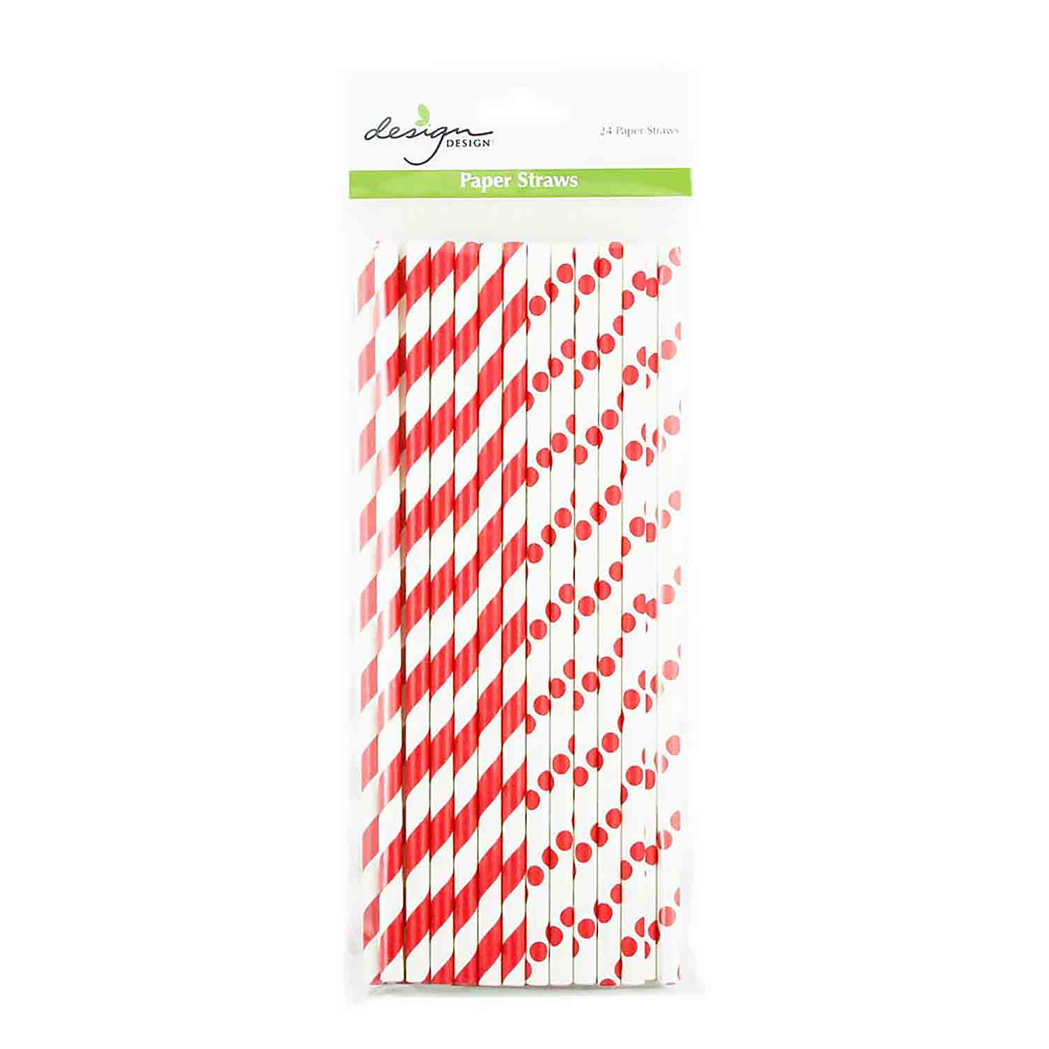 Red Dots & Stripes Paper Straws