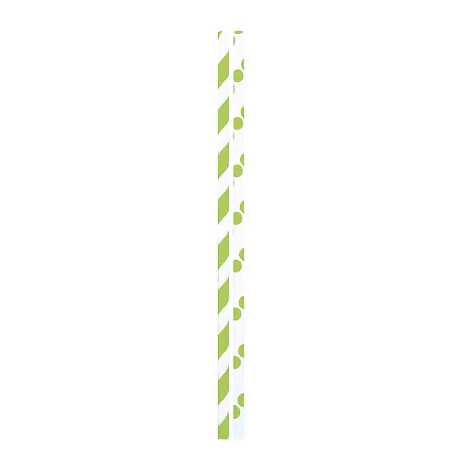 Lime Dots & Stripes Paper Straws