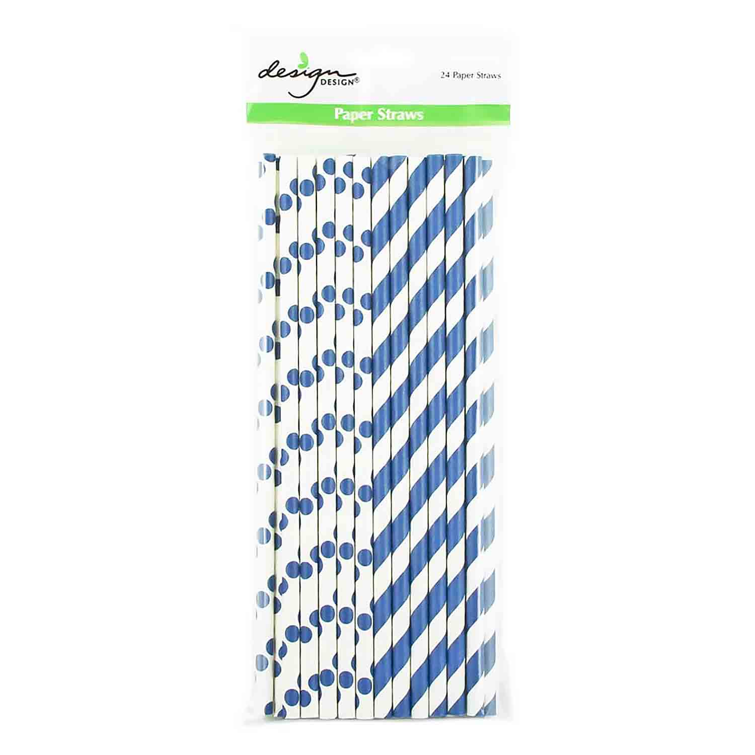 Navy Blue Dots & Stripes Paper Straws