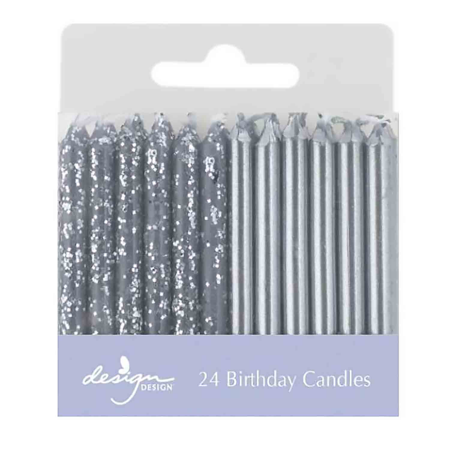 Metallic Silver Shimmer Candles