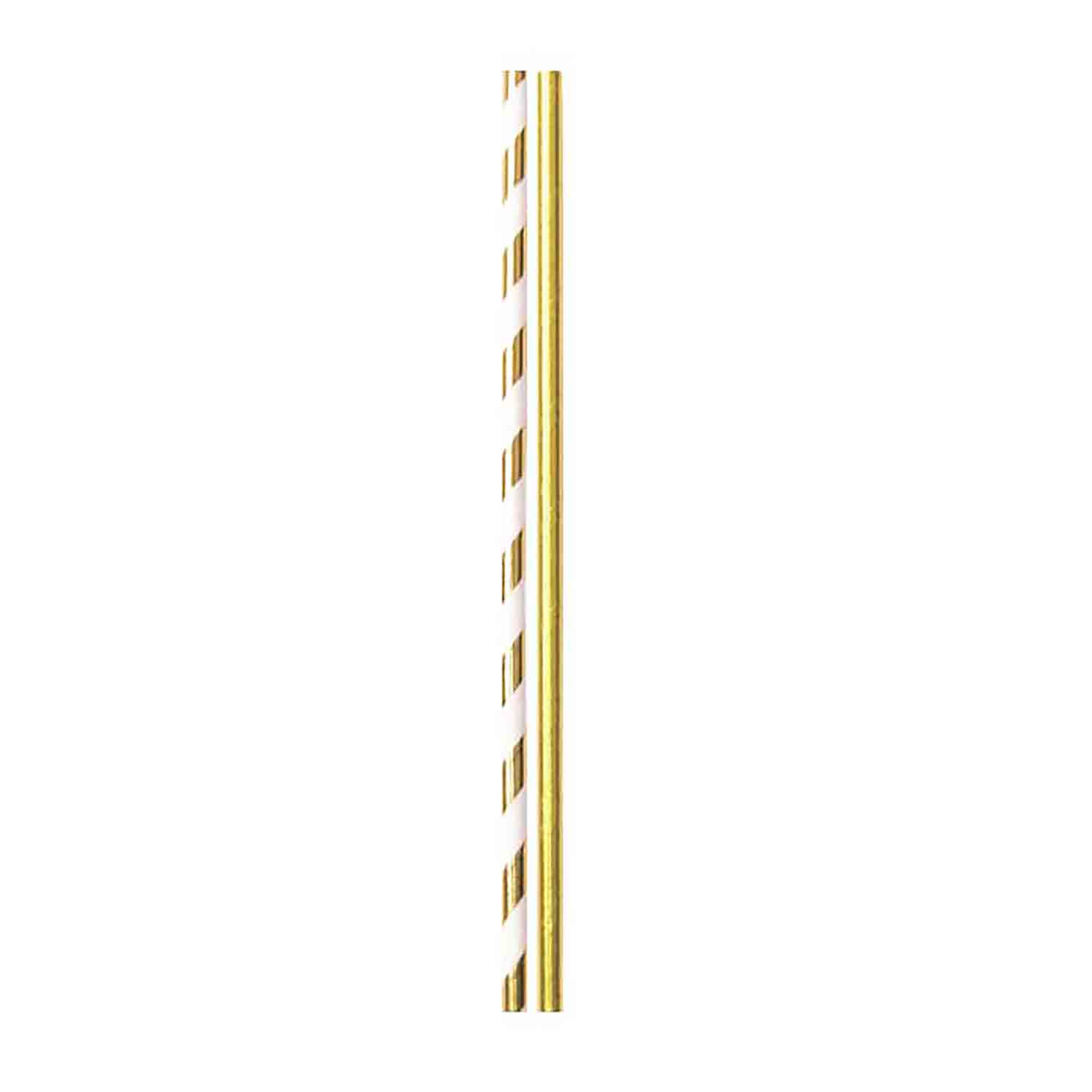 Gold Solid & Stripes Paper Straws