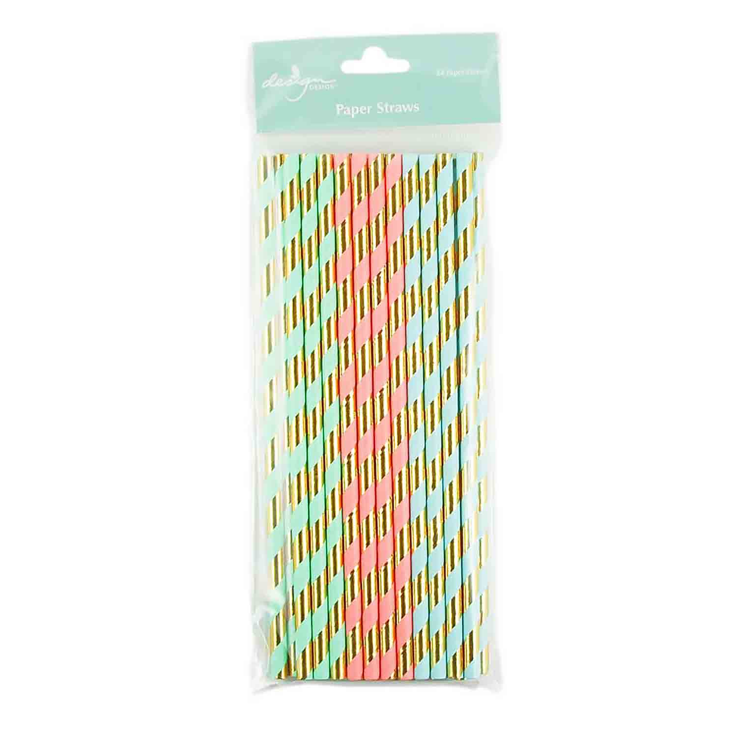 Pastel with Gold Stripes Paper Straws