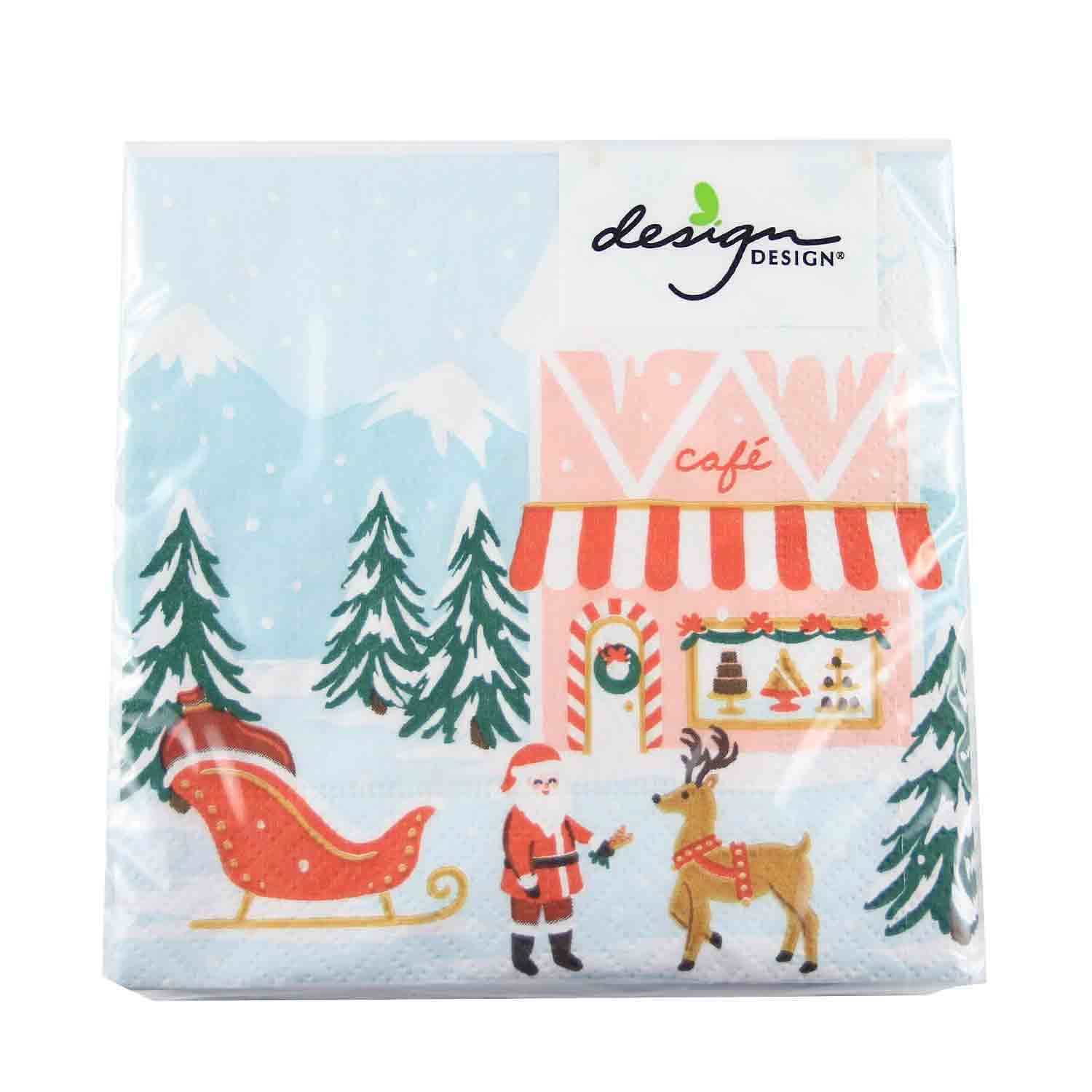 Santa Village Beverage Napkins