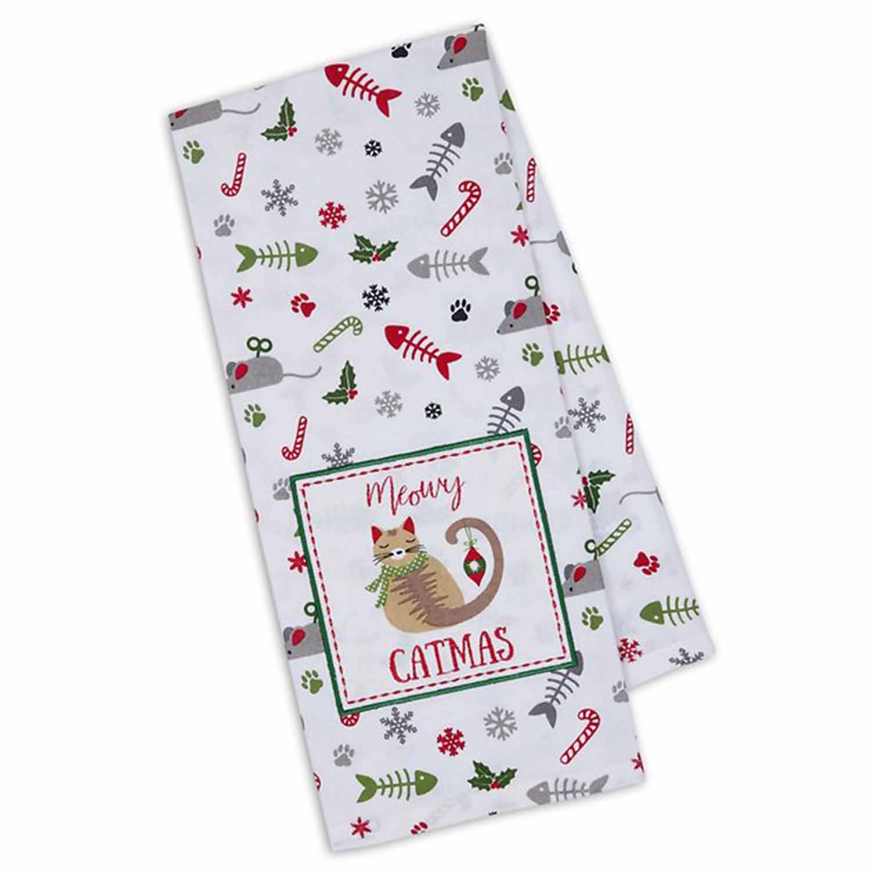 Meowy Catmas Dish Towel