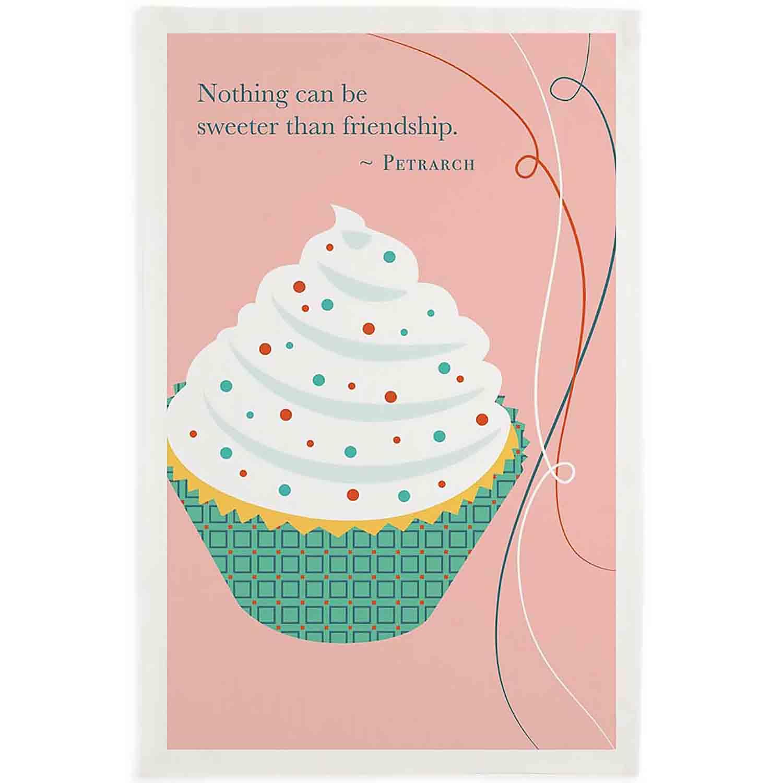 Friendship Cupcake Printed Dishtowel